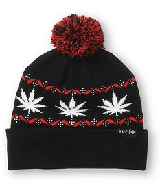 Get dank comfort with a soft acrylic construction with a red and white ornate pot leaf plantlife wraparound embroidery and black and red pom on top.