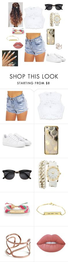 """""""Untitled #9"""" by mari-eleftheriadou ❤ liked on Polyvore featuring Bebe, adidas, Skinnydip, Charlotte Russe, Kate Spade and Lime Crime"""