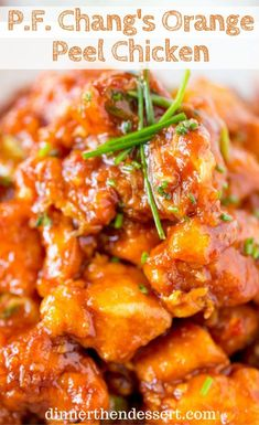 Chang's Orange Peel Chicken is crispy, spicy and sweet, with notes of orange flavor and even healthier than the restaurant version! Turkey Recipes, Lunch Recipes, Healthy Dinner Recipes, Chicken Recipes, Cooking Recipes, Orange Peel Chicken Recipe, Restaurant Recipes, Food Dishes, Main Dishes
