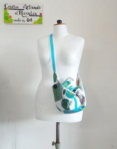 sac origami, à bandoulière en coton gris chiné, turquoise et vert d'eau…