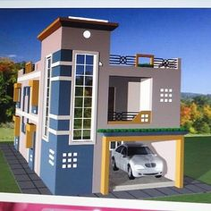 Front elevation house plans lovable house design indian style plan and elev Village House Design, Duplex House Design, Kerala House Design, House Front Design, Home Room Design, Modern House Design, Front Elevation Designs, House Elevation, Modern House Plans