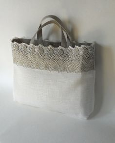 Linen tote bag ivory gray linen and lace custom made bridal tote lingerie bag bridesmaid favor bag Sacs Tote Bags, Reusable Tote Bags, Lace Bag, Jute Bags, Linens And Lace, Fabric Bags, Handmade Bags, Handmade Bracelets, Beautiful Bags