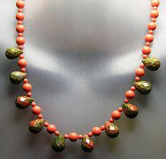 Unakite & Swarovski Pearl Necklace