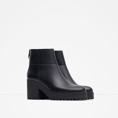 Image 2 of HIGH HEEL LEATHER ANKLE BOOT WITH TRACK SOLE from Zara