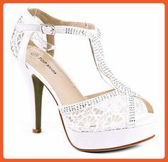 3b01d6b6625a Women White Rhinestone Studded Cross Ankle T-Strap Lace Formal Evening  Party High Stiletto Heel