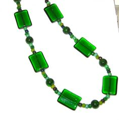 Irish Green Square Glass Necklace with Matching Earrings