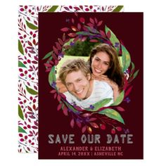 Burgundy Wine | Save The Date Photo Wreath Card - burgundy style stylish cyo diy customize