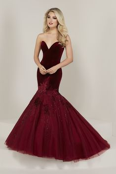 4d8b3cd42d67 Tiffany Designs 16330 is a sweetheart strapless mermaid prom gown that has  a Fitted Velvet bodice with Cut-out Floral and Rhinestone details on the  mermaid ...