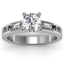 Baguette Diamond Engagement Ring set in 18k White Gold