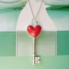 Tiffany & Co Tiffany Keys Heart Key Charm in Red