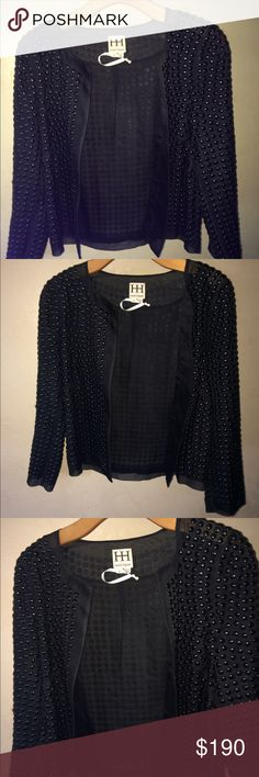 Haute Hippie Black jacket fair condition size sm Haute Hippie Black metal dotted jacket size small . Measures 20 inches in length. In fair condition. It is torn along the back underneath the arm sleeve. Hundred percent silk. Haute Hippie Jackets & Coats