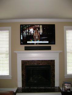 Sonos Sound Bar Installed Above The Led Tv Using Sound Bar