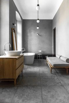 wood and concrete bathroom / interior design Grey Bathrooms, Beautiful Bathrooms, Modern Bathroom, Small Bathroom, Bathroom Layout, Budget Bathroom, Vanity Bathroom, Bathroom Ideas, Bathroom Trends