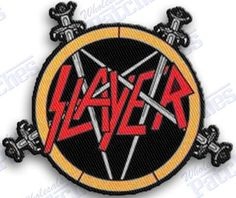 Three dollar off sale *** slayer - iron on 100% embroidered embroidery patches patch - 3 x 3 INCHEs heavy metal rock n roll band thrash MUSIC CD 100% EMBROIDERED PATCHES - SEW IT ON OR IRON