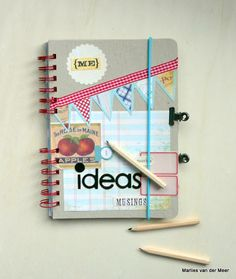 great ideas for a smashbook- i love the ribbon and banner idea on this cover=cute