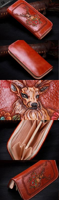 Handmade leather Brown deer wallet leather zip women clutch