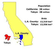 map of tokyo and california with population and area