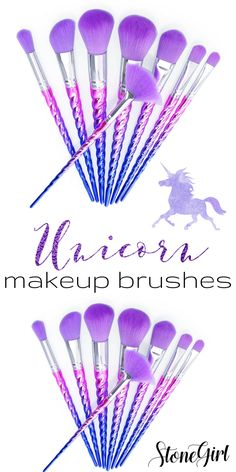 Ships to US only Who says unicorns are only a myth? Get the ultimate unicorn brush kit with this 8 piece set, featuring beautiful purple and pink ombre horn handles with soft purple bristles. These st