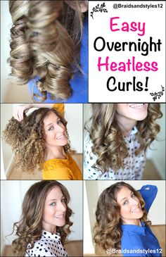 4 Easy Overnight Heatless Curl Methods By Braidsandstyles12  Tutorial : https://www.youtube.com/watch?v=O7zx25LCfBw