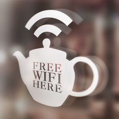 x1 Free Wifi Here Window Sticker, Tea Shop, Hotel, Bar, Cafe, Restaurant, Teapot | eBay