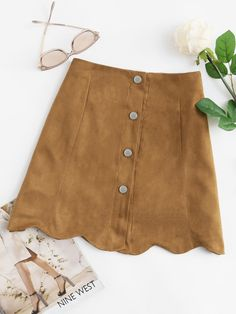 To find out about the Scallop Hem Single Breasted Suede Skirt at SHEIN, part of our latest Skirts ready to shop online today! Midi Rock Outfit, Midi Skirt Outfit, Skirt Pants, Skirt Outfits, Dress Skirt, Pleated Skirt, Short Skirts, Mini Skirts, Suede Shorts