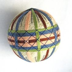 Temari Ball Japanese Thread Ball Christmas Ornament Wrapped in a Take-Out Box by PennyFabricArt for $30.00