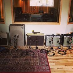 Tracking guitars with The Archers.  Spoiled with a bunch of amazing vintage fender amps. #proreverb #vibrolux #bandmaster #showman (at Monarch Studios)