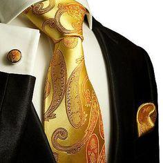 Orange Silver Tie Stripe Patterned Handmade 100% Silk Wedding Necktie 8cm Width GroßE Sorten Kleidung & Accessoires
