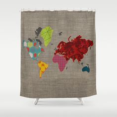 Simi's Map of the World Shower Curtain