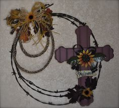 """20"""" """"Welcome"""" Fall Cross Barb Wire Wreath"""