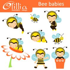 Bee babies - cute bumblebee grapics for card design, crafts and more.