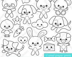 Woodland Animals  Digital stamps  Clipart by pixelpaperprints