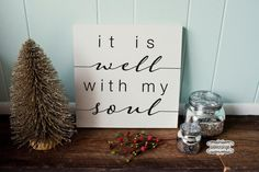 Hand painted wood sign wrapped. It is well with my soul    Sign has a 1 inch cradle which makes it easy to hang.    Sign is hand painted,