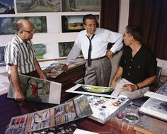 "From left to right: unidentified, Walt Disney, ""Sleeping Beauty"" production designer Eyvind Earle."