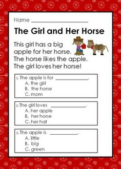 Kindergarten Reading Comprehension Passages with Multiple Choice Questions Reading Comprehension Passages, Comprehension Activities, Reading Fluency, Kindergarten Reading, Kids Reading, Teaching Reading, Reading Worksheets, Reading Resources, Reading Strategies