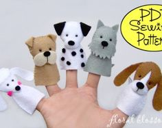 Digital Pattern: Prehistoric Friends Felt Finger by FloralBlossom