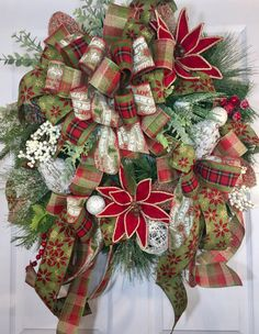 Christmas Frosted Pine Red Burlap Green and by WilliamsFloral