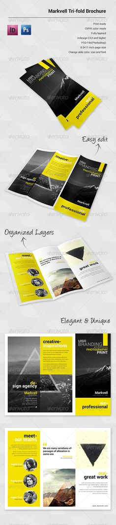 clean business trifold brochure indesign templat corporate