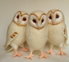 https://flic.kr/p/9uNoXy | three more baby barn owls | 8 inch wool/felt/needle felted baby barn owls  pipspoppies.blogspot.com/