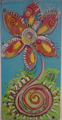 earth flower  original artwork by   rochelle cavanaugh galvez