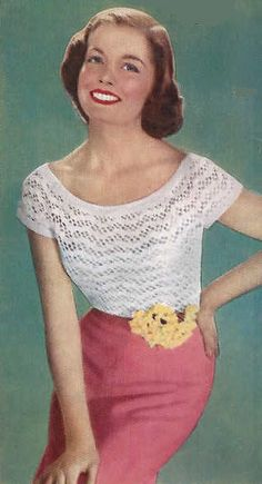 Sweetest Summer Jumper 1950s  Vintage Crochet Pattern PDF from Pamoolah Vintage. $2.50, via Etsy.