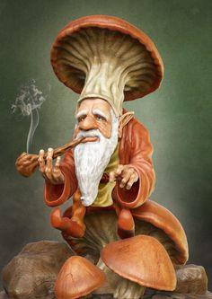 Smoking Gnome , Adrian Zhang on ArtStation at https://www.artstation.com/artwork/8b0bx