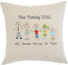 Stick People / Cat Dog Personalised Embroidered Cushion Cover Characters Names