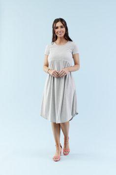 modest dresses, teacher clothes Gray Dress, Striped Dress, White Dress, Teacher Outfits, Teacher Clothes, Knee Length Dresses, Modest Dresses, Blue Stripes, White Lace