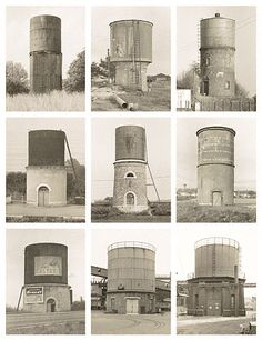 Water Towers, France and Germany - Bernd and Hilla Becher German, 1968 - 1972 Gelatin silver prints Industrial Photography, Contemporary Photography, Contemporary Art, Types Of Photography, Fine Art Photography, Bernd Und Hilla Becher, Getty Museum, Photoshop, Architecture Details