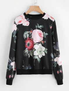 ROMWE Flower Print Pullover 2018 Spring New Fashion Multicolor Casual Women Clothing Long Sleeve Round Neck Sweatshirts Shein Pull, Sweat Shirt, Cool Hoodies, Hoodie Sweatshirts, Pullover, Pulls, Outfits For Teens, New Fashion, Ootd Fashion