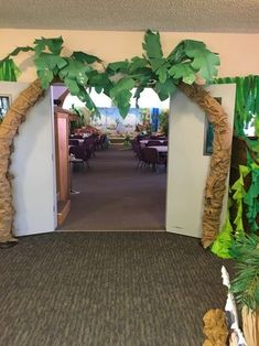 VBS Safari Jungle bridge with river under. Safari Birthday Party, Jungle Party, Luau Party, Jungle Theme Parties, Dinosaur Birthday, Fake Palm Tree, Palm Trees, Safari Theme, Jungle Safari