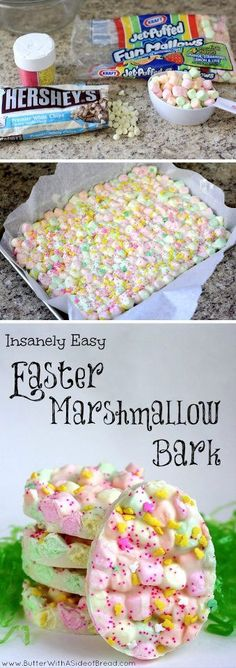 Takenfrom Facebook/Craft, Home and Garden Ideas Page ~~  Easter Marshmallow Bark ~~ Ingredients:  a Bag of GOOD White Chocolate Chips, a  Bag of Mini Colored Marshmallows,   Easter Themed Sprinkles ~~ Directions (from Jennifer Humpert): melt white chips; stir in marshmallows; spread on pan covered with parchment paper; put on sprinkles; let cool & set; then cut how ever you want    ~~ ENJOY!