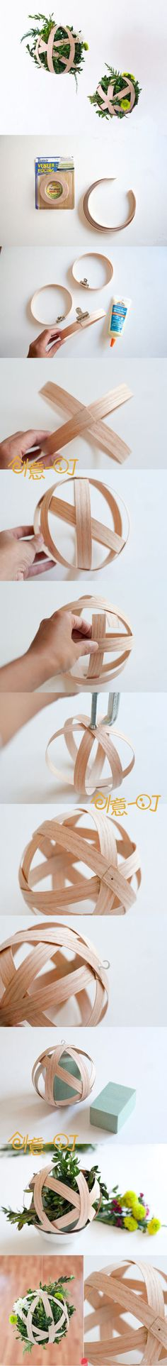 Vaneer Edging (and wood glue)  Fantastic idea for the woven globes!