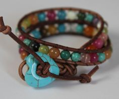 Leather Wrap 2 Wrap Multi Color Gemstone by JewelitCouture on Etsy, $40.00
